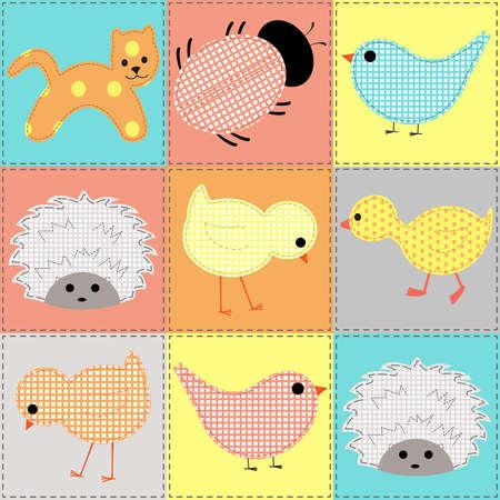 Nahtlose Hintergrund mit Baby Tiere, Patchwork Illustration