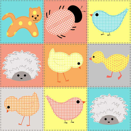 Seamless background with baby animals, patchwork Illustration