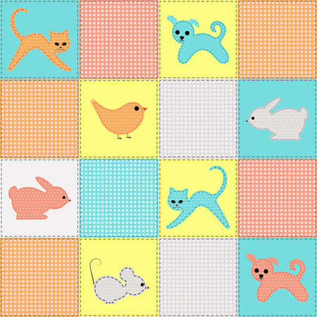 childrens seamless background with animals and birds from fabric