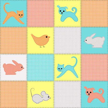 Kinder nahtlose Hintergrund mit Tieren und V�geln aus Stoff Illustration