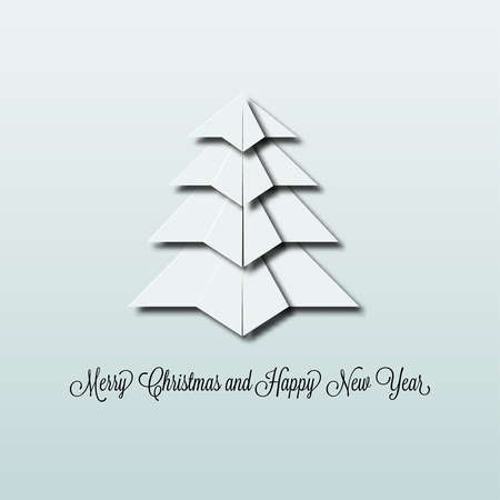 dreidimensionale Weihnachtsbaum aus wei�em Papier