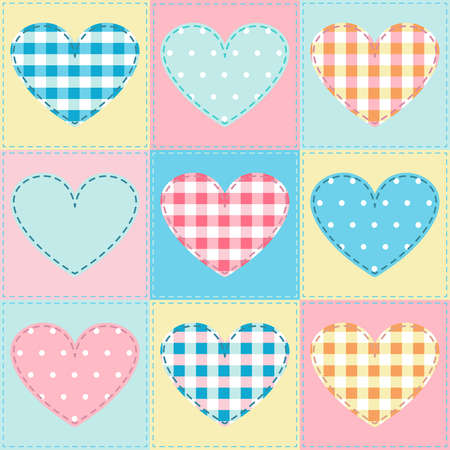 seamless background with hearts fabric, patchwork