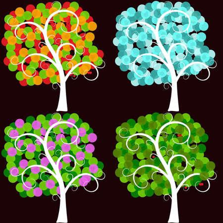 stilisierten B�umen in verschiedenen Jahreszeiten Illustration