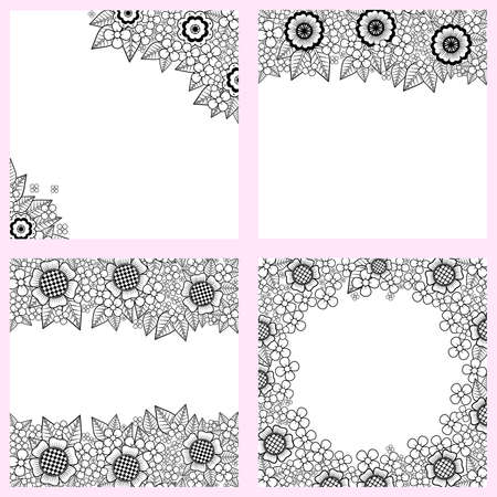 Set of black and white backgrounds with flowers Illustration