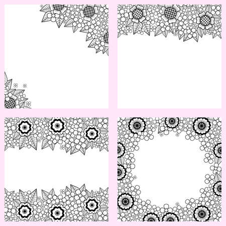 Set of black and white backgrounds with flowers Vector
