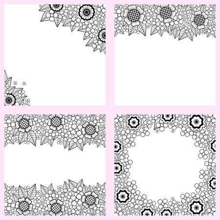 furnish: Set of black and white backgrounds with flowers Illustration
