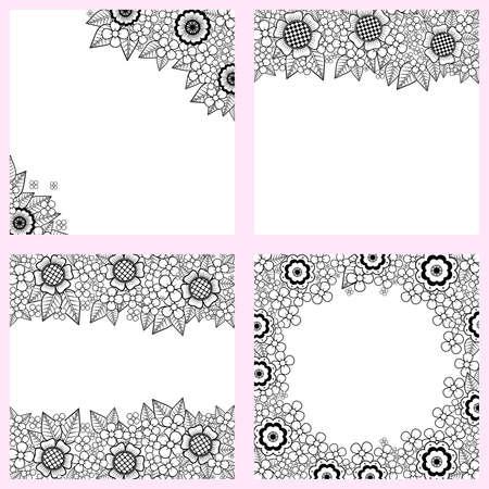 Set van zwarte en witte achtergronden met bloemen Stock Illustratie