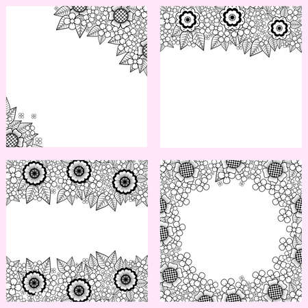 substitute: Set of black and white backgrounds with flowers Illustration