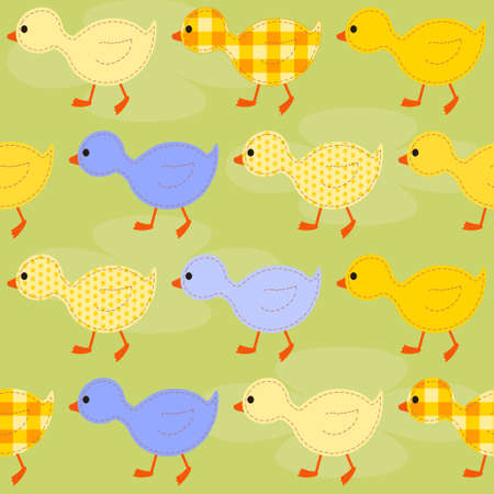 kids seamless pattern with multi-colored ducklings Illustration