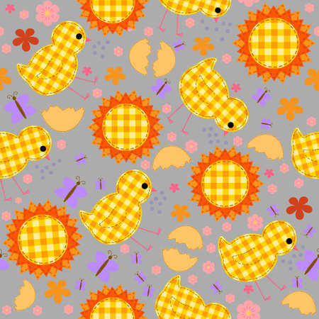 kids seamless pattern with chickens, quilt, patchwork. Vector illustration