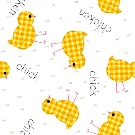 kids seamless pattern with chickens and inscriptions, quilt, patchwork, vector illustration