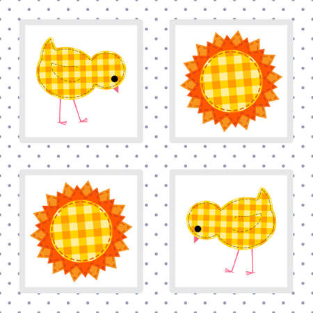 kids seamless pattern with chickens and the sun Illustration