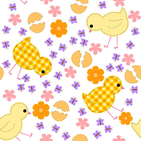 kids seamless pattern with chickens, flowers and butterflies Illustration