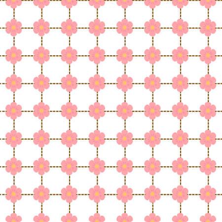 stitching: seamless pattern with pink flowers and  stitching