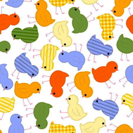 kids seamless pattern with multi-colored chickens, quilt, patchwork Illustration