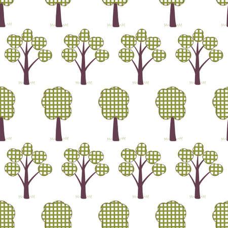kids seamless pattern, applique, trees, grass Illustration