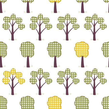 kids seamless pattern, applique, trees, grass. autumn
