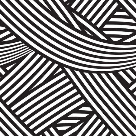 Seamless geometric background with black and white stripes