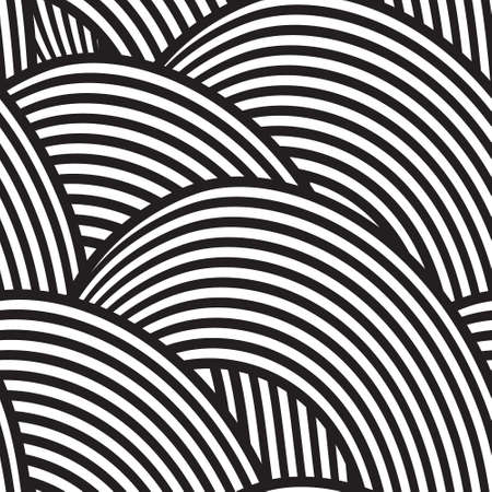 seamless background with black and white waves