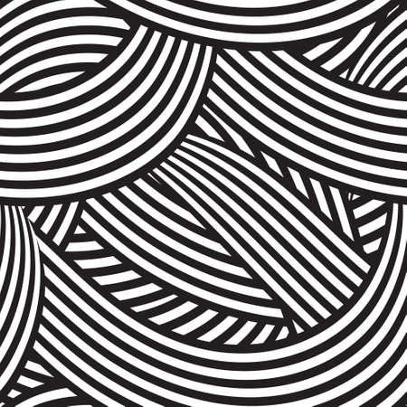 seamless background with black and white curving lines