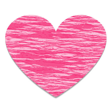 pink heart made of crepe paper with the shadow, the global color Illustration
