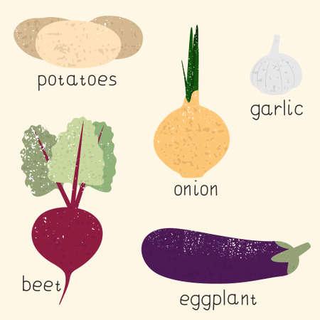 set of stylized vector vegetables potatoes, onions, garlic, beets, eggplant, vintage