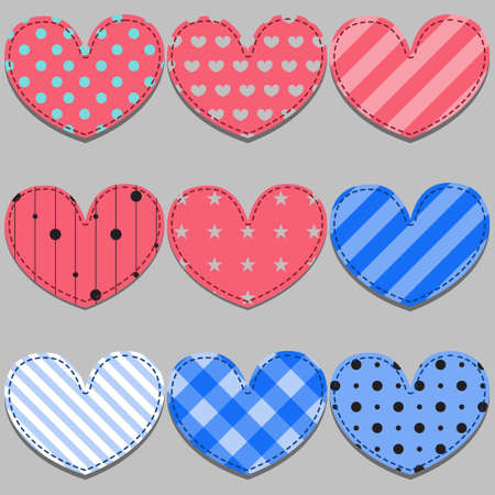 vector set of pink and blue hearts made of cloth