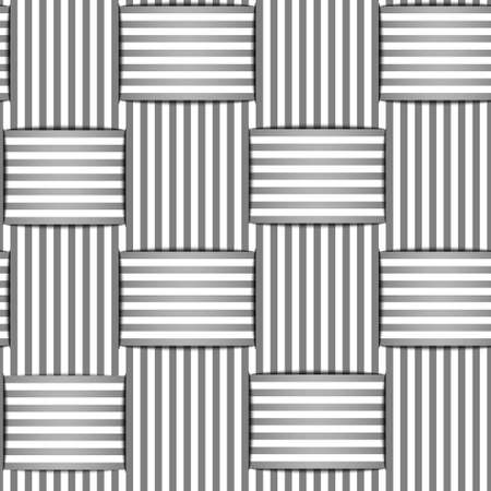 seamless vector background with interwoven black and white stripes with shadow Illustration