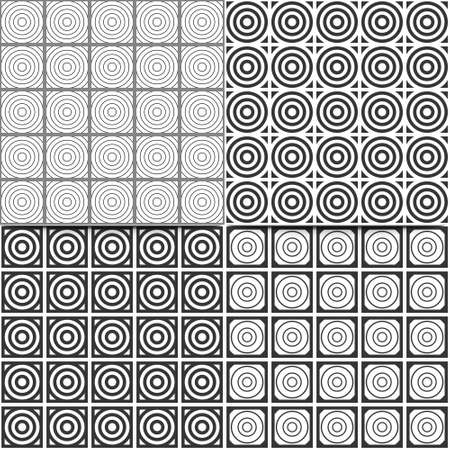 set of abstract vector seamless backgrounds with black and white circles Illustration