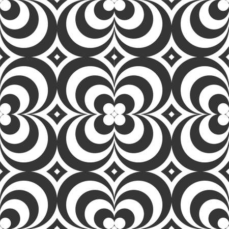 psychedelic vector seamless monochrome background, sixties, seventies