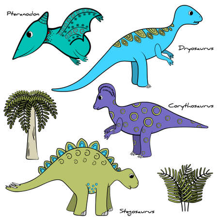 set of stylized dinosaur with names and elements of vegetation, vector, isolated