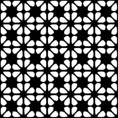 Seamless black and white geometric background with floral elements