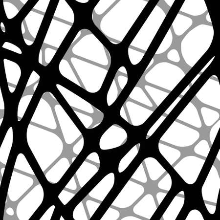 Seamless abstract volumetric transparent background black connected lines Illustration
