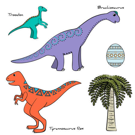 set of stylized dinosaur with names, tree and eggs, vector illustration