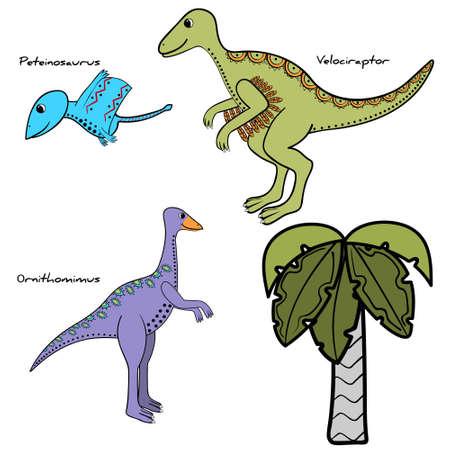 set of stylized dinosaur and tree, isolated