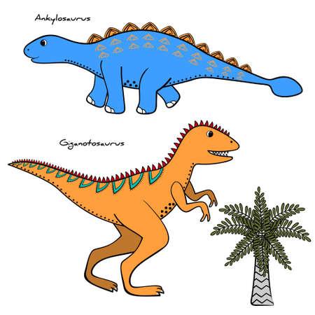 Set of 2 stylized dinosaurs and tree, vector illustration Illustration