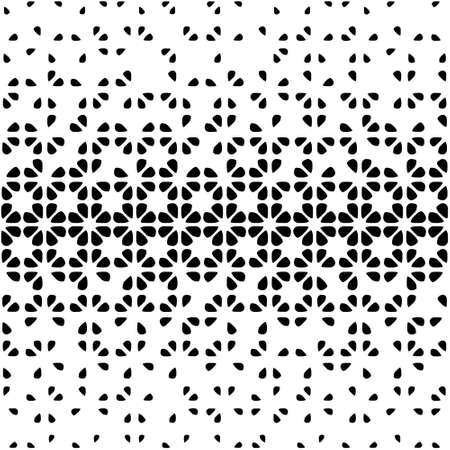 Seamless abstract black and white background with floral  decreasing elements, halftone