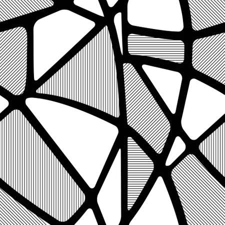 Seamless black and white geometric pattern with hatched figures