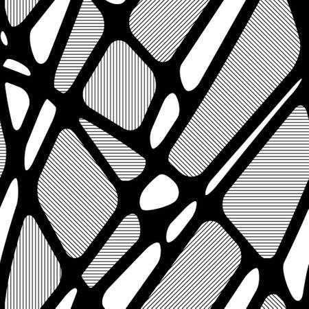 Seamless black and white geometric abstract pattern with hatched figures
