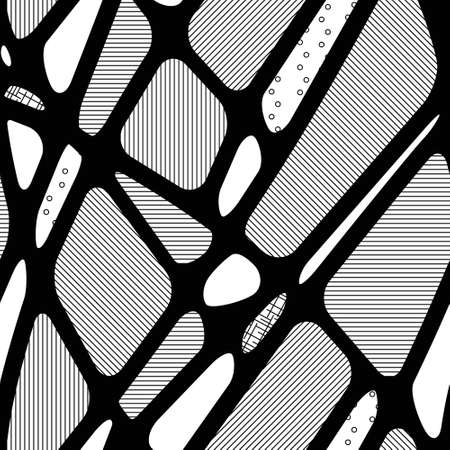 Seamless abstract black-white  background of geometric shapes with different textures, hatching