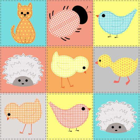 kids seamless pattern with stylized Young animals kitten, duck, chicken, hedgehog, bird, ladybird Illustration