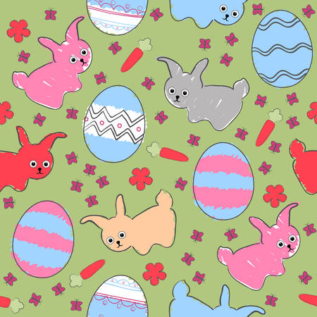 Childrens Easter seamless background with stylized bunny and eggs