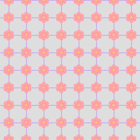 Seamless pattern with pink flowers and stitches