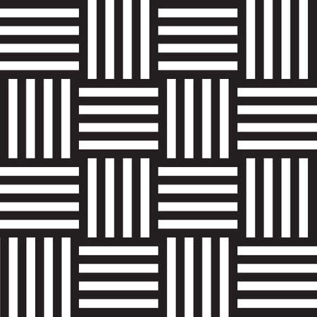 Seamless geometric black and white background with lines and squares Illustration