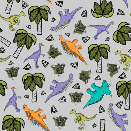 Seamless background for children with stylized dinosaurs Illustration