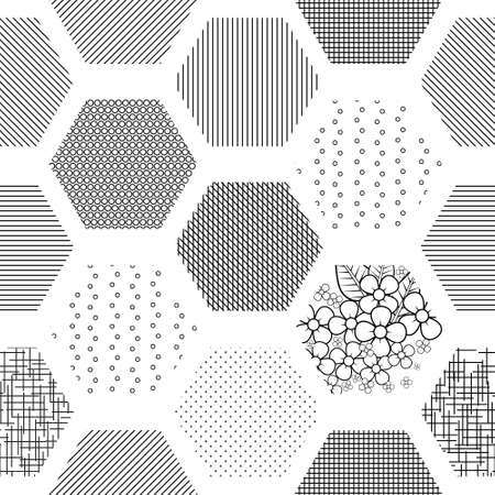 Abstract geometric background from hexagons with linear and floral textures