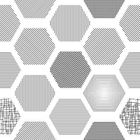 Abstract geometric background with hexagons with different texture, hatching
