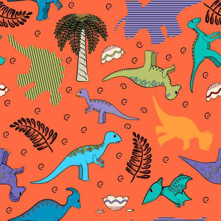 Child seamless background with stylized dinosaurs, silhouettes, plants