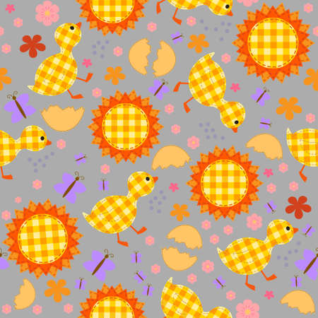 Childrens seamless background with ducklings, sun, butterflies and flowers, patchwork, applique Illustration
