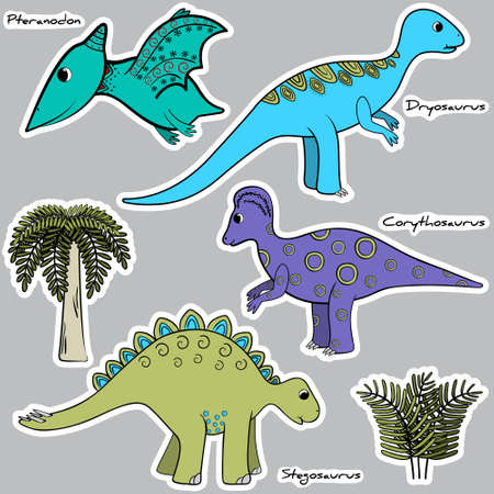 pterodactyl: Set of stylized dinosaur stickers Illustration